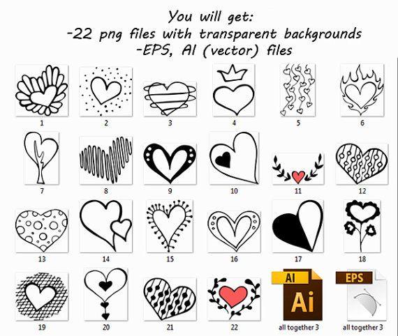 Doodle Herzen Clipart Herz ClipArt digitale Herz ClipArt