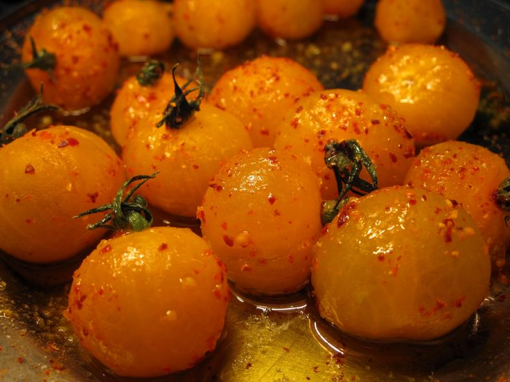 Confit cherry tomatoes with Piment d' Espelette. Another delight from the Blanket Bay kitchen #Cuisine