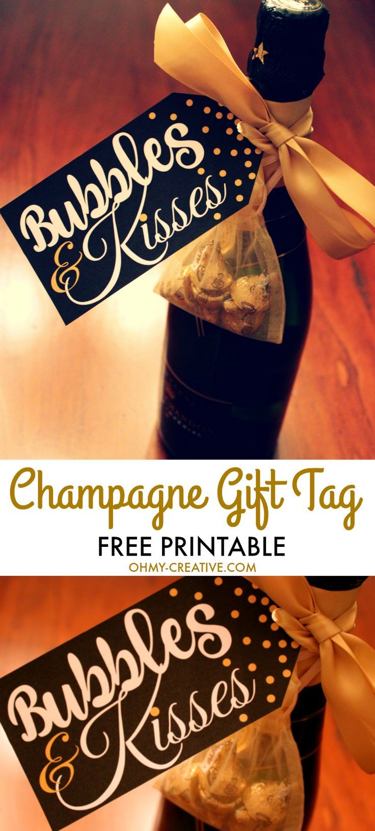 From New Year's Eve, Weddings or any celebration, grab this Bubbles and Kisses Champagne and Chocolate FREE Printable Gift Tag to add to your champagne bottle! | OHMY-CREATIVE.COM