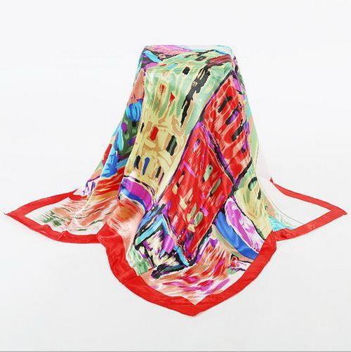 Large Square Satin Silky Scarf Patch Print Women Bandana Wrap Shawel Tie a05