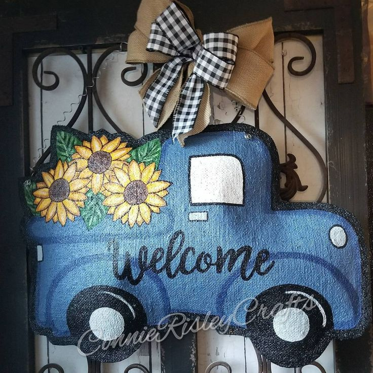 Mason Jar Sunflower Door Hanger