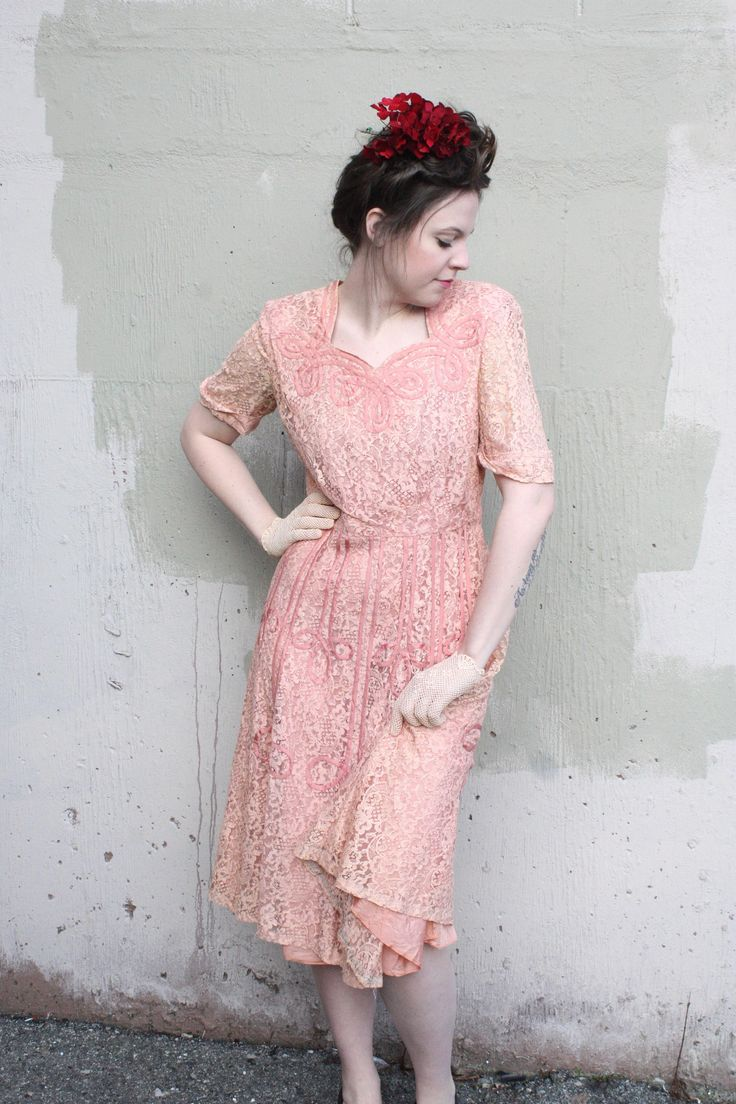 Vintage 1940's Dress // 40s 50s Rose Pink Lace Cocktail Dress with Ribbon Soutache // Sweetheart Neckline Party Dress by TrueValueVintage on Etsy