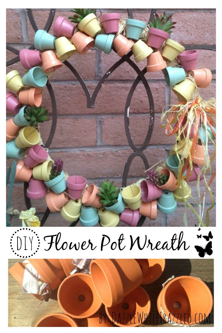 Create a stunning DIY front door wreath using miniature terra cotta flower pots for a unique spring and summer decorative wreath.