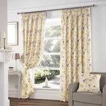 Yellow Vivien Lined Pencil Pleat Curtains