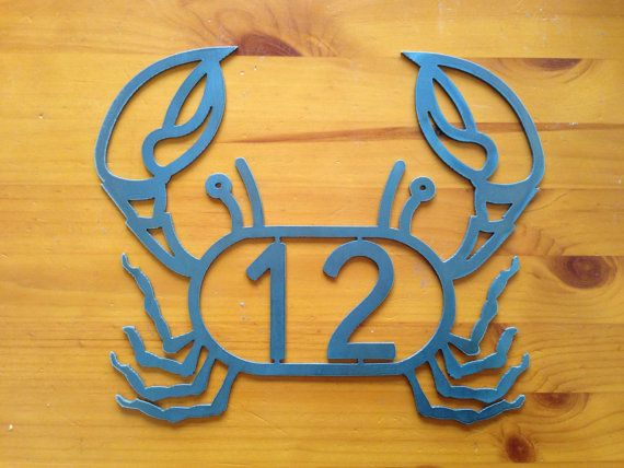 Beach house numbers. Crab Lobster Address Sign House numbers. House address...SHIPS PRIORITY on Etsy, $32.00