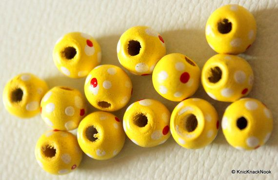 20 x Yellow Wood Beads with Handpainted Flowers by KnicKnackNook
