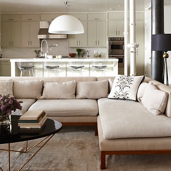 coffee table, couch: Coffee Tables, Idea, Living Rooms, Interiors Design, Comfy Couch, Families Rooms, Open Kitchens, Open Plan, White Kitchens