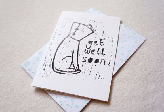 Get well soon Dog in cone Lino print Linocut puppy by JessicaYeong #dogincone #getwellsoon