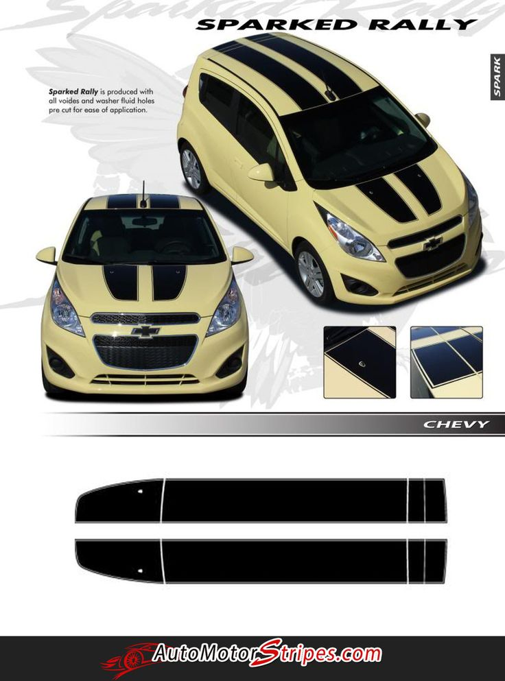 2013-2016 Chevy Spark Rally Hood Roof Rear Hatch Door Racing Vinyl Graphics 3M Stripes Kit