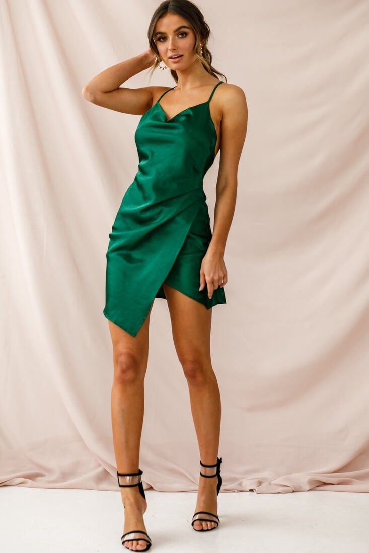 e15bf5f79568fe Buy the Hey Girl Cowl Neck Wrap Front Dress Forest Green exclusively at  Selfie Leslie!