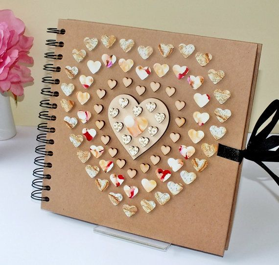 Beautiful Rustic Wedding Album Comment Book Scrapbook Hand Decorated Medium X Cream Ivory U Gold Love Hearts Gift For Her Women With Photo