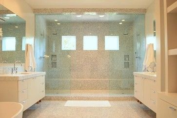 dual shower with windows and two vanities