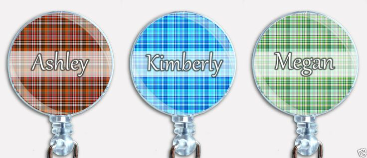 Personalized Custom Plaid Badge Reel Retractable ID Name Holder #Handmade