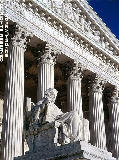 United States Supreme Court Exterior With Justice Statue