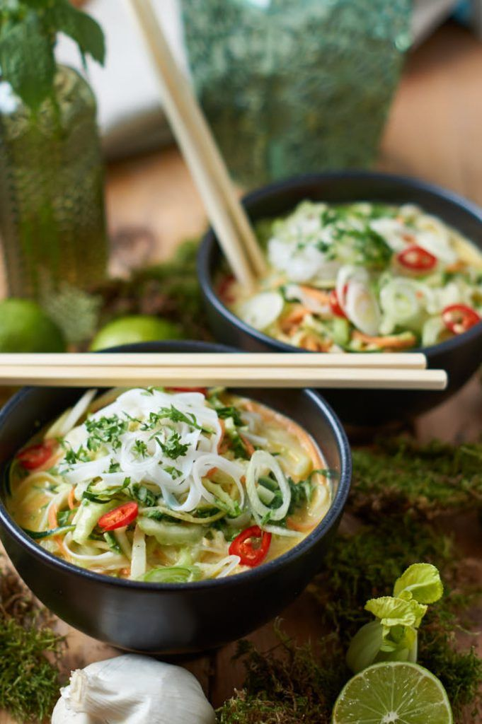 Grünes Thai Curry mit Zucchini Möhre und Pak Choi | Ohne Fischsauce ist das Rezept vegan