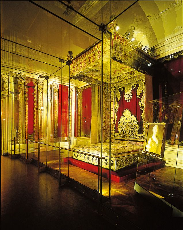 Rich Bedroom of Empress Maria Theresia -  Today this room houses the only surviving bed of state from the Viennese court. It was made at the time of Maria Theresa's marriage and was originally set up in the empress's apartments in the Vienna Hofburg.