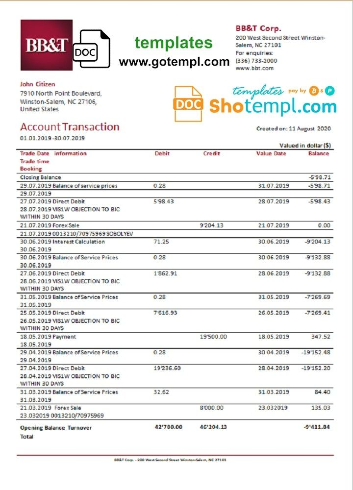 Completely Editable U S Bb Amp T Corp Bank Statement Template In Doc Format Nbsp High Quality Template You Do Not In 2020 Statement Template Bank Statement Statement