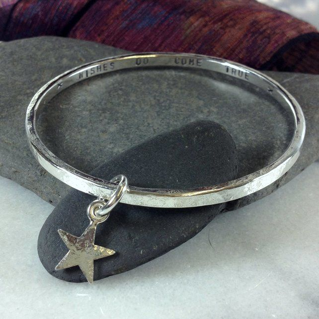 Personalised sterling silver charm bangle made to order