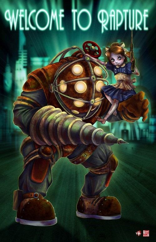 11x17 Bioshock  Big Daddy and Little Sister by Musetap on Etsy