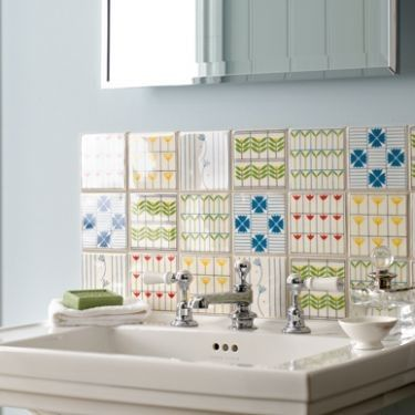 Multi-tile splashback. Fired Earth garden city tiles