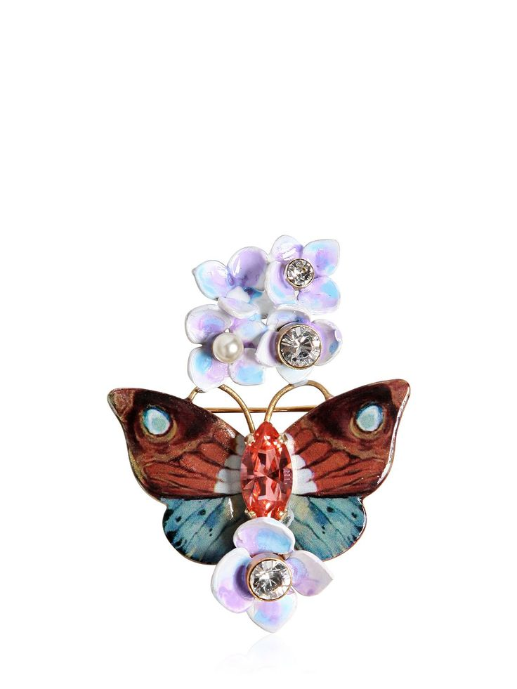 DOLCE & GABBANA - BUTTERFLY AND HYDRANGEA PIN - PINS - MULTICOLOR - LUISAVIAROMA