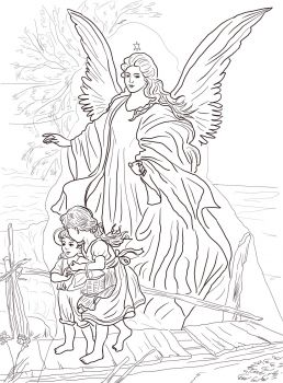 Guardian angel and children Catholic Coloring Page (there are other beautiful angel pictures on this website)