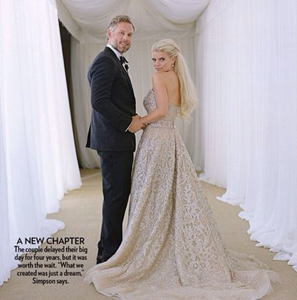 Love the dress color!! Her whole wedding was gorgeous! Jessica Simpson & Eric Johnson Wed - July 2014