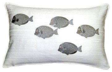 Pillow Decor - Silver Fish 14 x 20 Throw Pillow beach-style-pillows