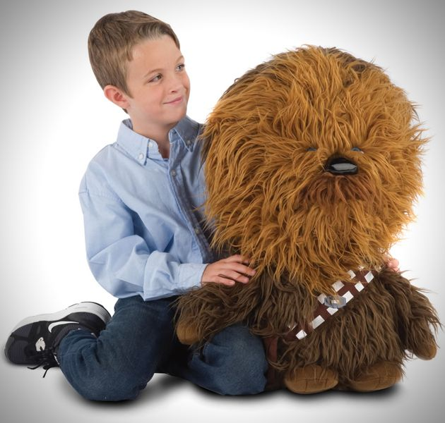 Mini Talking Plush Chewie Toy from Star Wars - This 5 pound, 26 inch mini Chewie will speak the Wookie sounds we all know and love when hugged.