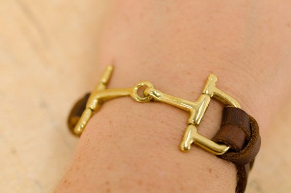 Gold Horse Bit Bracelet, Brown Leather Bracelet for Women, Equestrian Style on Etsy, $49.00