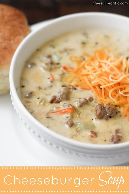 Yummy. Cheeseburger Soup at therecipecritic.com This is an award winning soup and it is absolutely amazing! A must try this winter! Left out potatoes and made it low carb....good! -Ali