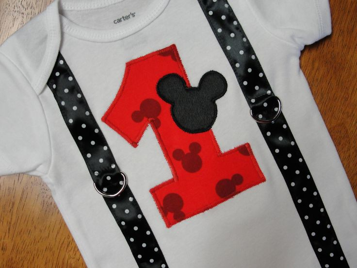 Mickey Mouse 1st Birthday Onesie Mickey Print by HomeArtsBoerne, $21.95