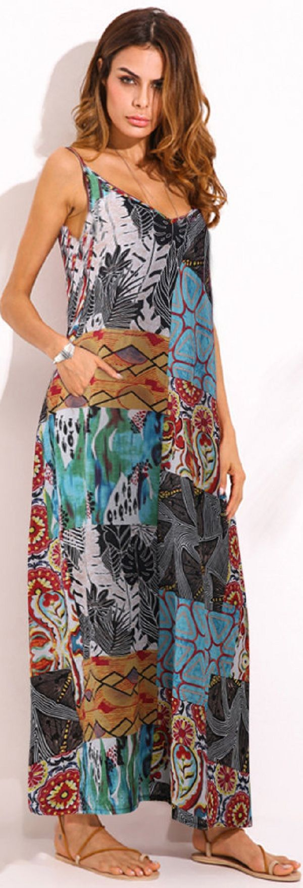 US$ 19.63 O-NEWE Bohemian Colorful Printed V-Neck Strap Maxi Dress For Women