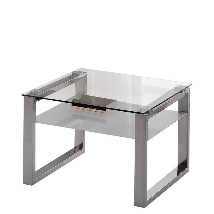 Mesa de centro mini plain con estructura de acero pulido - Mesa centro cristal y acero ...