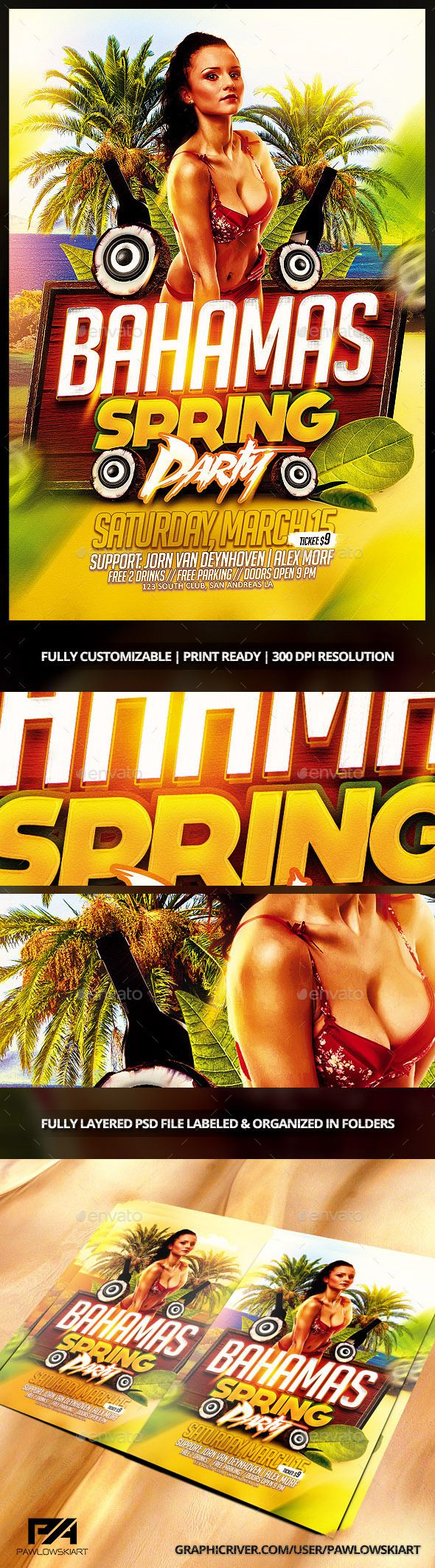 Bahamas Spring Party Flyer Template - Events Flyers