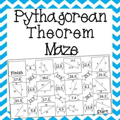 Pythagorean Theorem Maze from Amazing Mathematics on TeachersNotebook.com (2 pages)