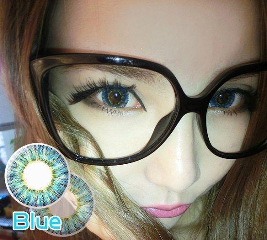 Soft Cosmetic Colored Prescription Contact Lenses Elegant Nymph (Blue)