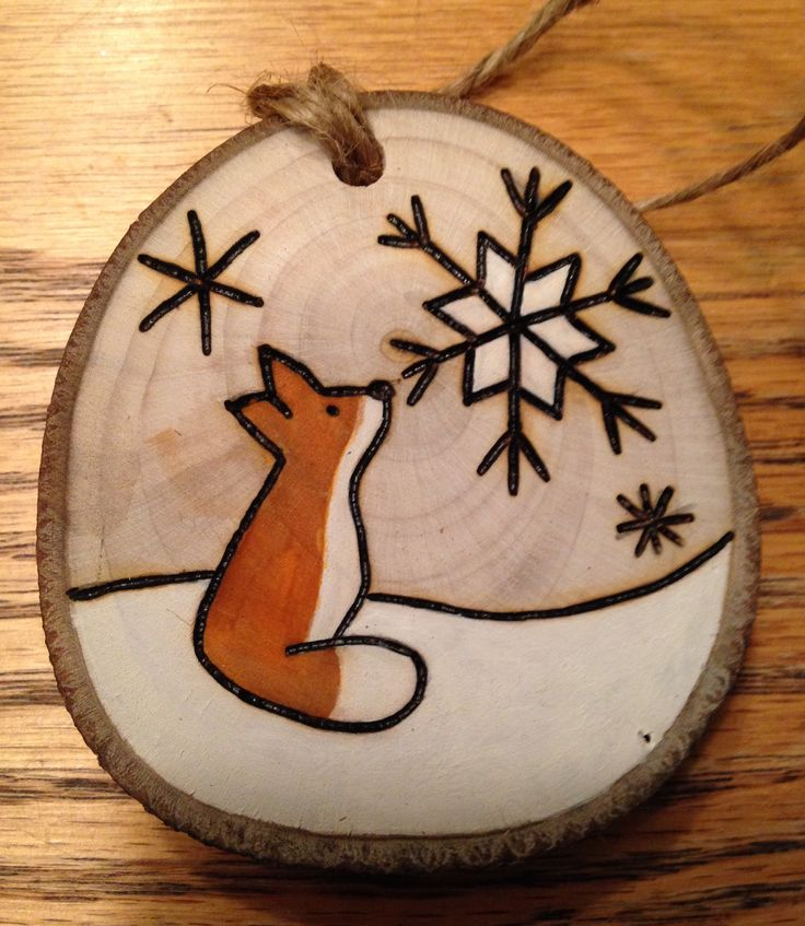 Rustic wood burned hand painted Christmas ornament - natural wood