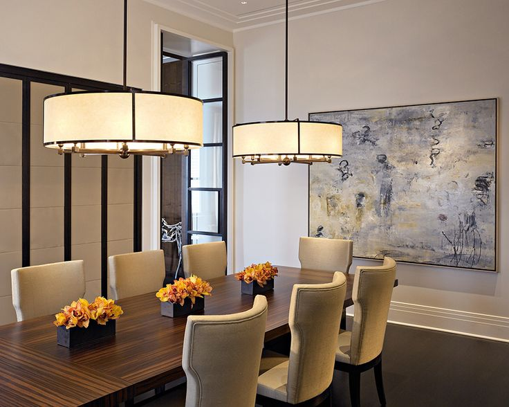 White Fabric Drum Pendant   Parisian Style Dining Room With Matching Paris  Chandeliers From HOLLY HUNT