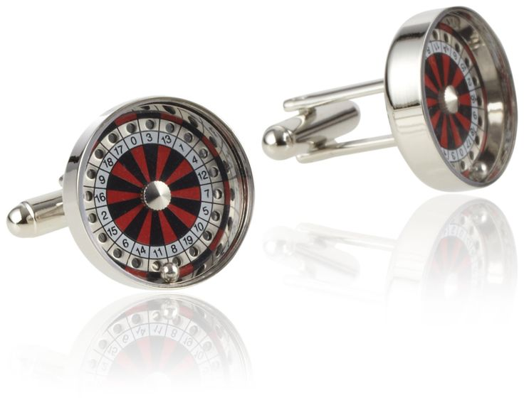 Geoffrey Beene Men's Roulette Wheel Cufflinks, Silver, One Size. Roulette wheel^Polished.