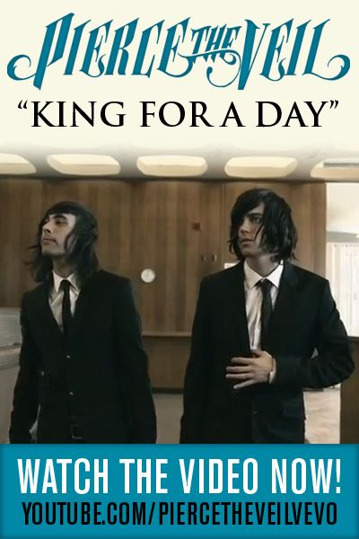 "The new music video from Pierce The Veil - ""King For A Day"" ft. Kellin Quinn of Sleeping with Sirens. http://www.youtube.com/watch?v=icXUkIfZxyg"