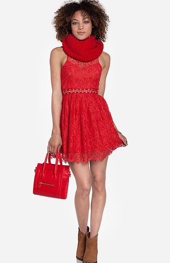 Adorable red lace date night dress