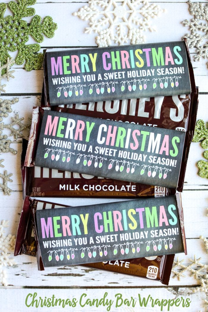 FREE Christmas Candy Bar Wrappers - perfect for a sweet treat to give this…