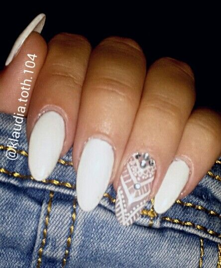 #nails #white #long #pattern #summer #new