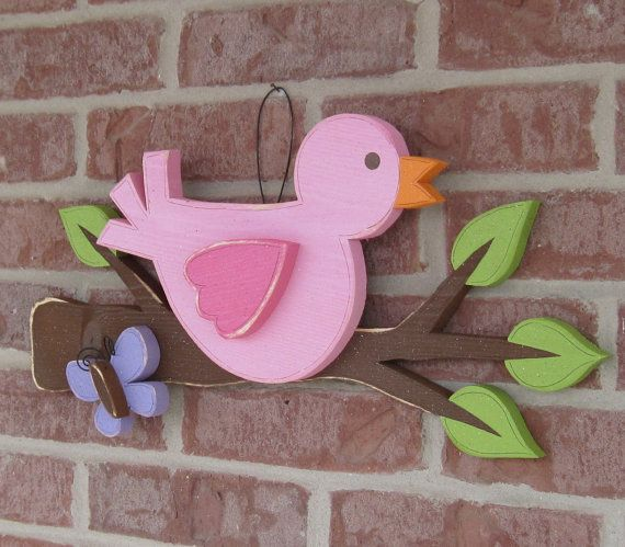 Bird on a Branch with a butterfly for home decor door by lisabees, $33.50