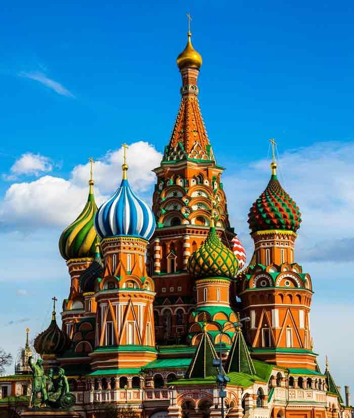 Saint Basil's Cathedral - Strikingly colourful, it is in Moscow and was erected by Ivan the Terrible to celebrate capturing the Tatar strongholds of Kazan and Astrakhan.