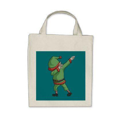 Dab Santa Elf Funny Novelty Christmas Gift Items Tote Bag - holidays diy custom design cyo holiday family