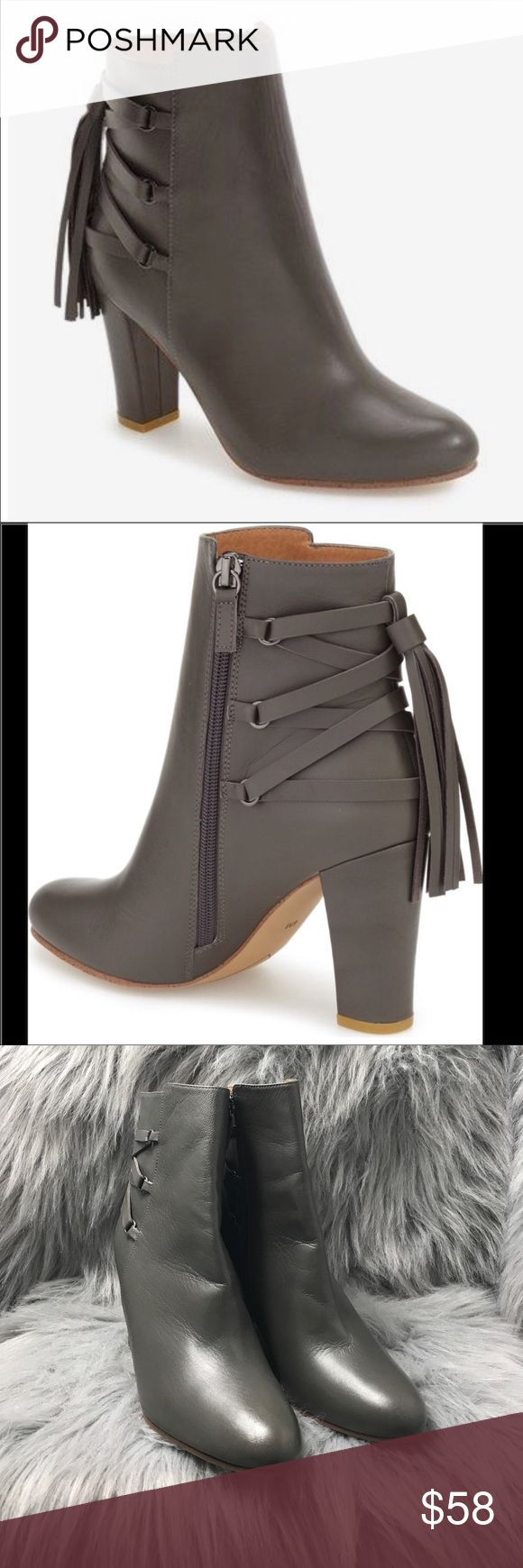 Halogen Almond Toe Gray Tassel Heeled Ankle Boots Halogen Almond Toe Gray Boots Size 9 No Box Few Scratches Toe Area Refer to Pic Never Been Worn Halogen Shoes Ankle Boots & Booties