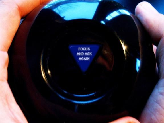 Magic 8 Ball - this one lets you create your own results  by typing in some words and clicking Shake Me!