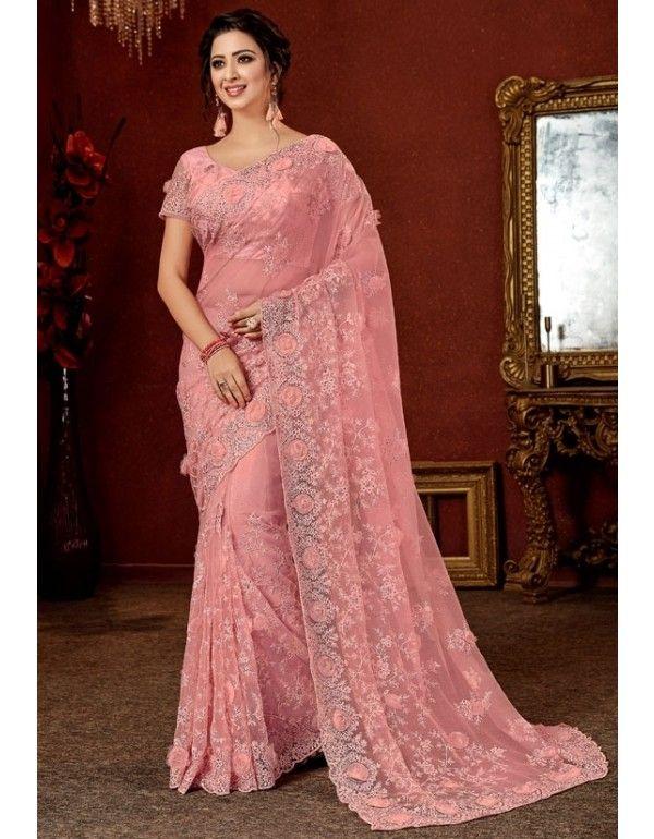 Rose Pink Designer Net Saree Saree Designs Stylish Sarees